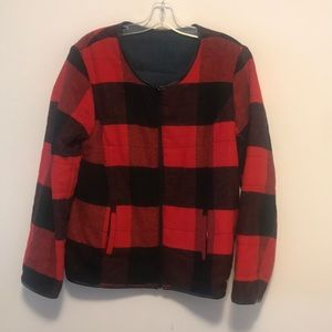 Jackets & Blazers - Plaid and denim reversible jacket sz Large